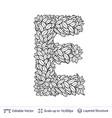 letter e symbol of white leaves vector image