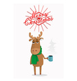 Merry Christmas card with cartoon deer vector image