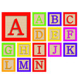 modern wooden alphabet blocks set vector image