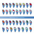 Pin flags of the Sovereign Asian Countries vector image