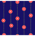 Red Flower Vine Dark Blue Background vector image