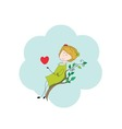 - girl with heart vector image