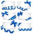 Set of gift card notes with blue bows with ribbons vector image