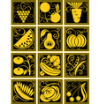 set of stylized fruit and vegetables vector image