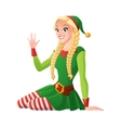Pretty girl in Christmas elf costume greeting vector image