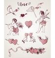 Valentine vintage design elements vector image