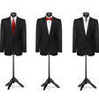Three different suits on mannequins vector image vector image