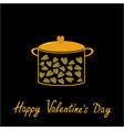 Happy Valentines Day Love card Pot with hearts vector image