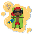 African-American boy on the beach vector image