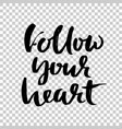 follow your heart hand drawn dry brush lettering vector image