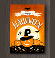 halloween postcard with moon and pumpkins vector image
