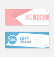 Pink blue cute pattern Gift voucher template vector image
