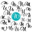 set letter u hand drawn flourish vector image
