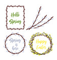 spring wreaths and frames setlettering and garden vector image