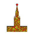 Tower Moscow Kremlin silhouette painted Khokhloma vector image