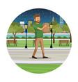man shopping bag walk park view night vector image