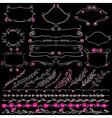 Chalkboard set of hand drawn floral graphic design vector image