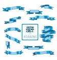 Beautiful blueribbons set for design vector image