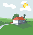 House in 1 floor view from perspective vector image