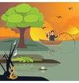 couple in lake fishing crocodile and snake around vector image