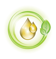 Golden yellow oil droplets in green circles vector image