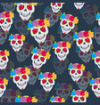 human skull and flower wreath seamless pattern vector image