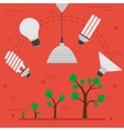 Phyto light lamps concept on red vector image