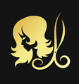 silhouettes of girls and scissors of gold color vector image