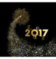 Happy new year 2017 gold firework design vector image