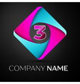 Number three logo symbol in the colorful rhombus vector image