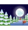 Santa Riding Christmas Sleigh at Night4 vector image