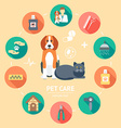 Pet care flat icon set Pet care banner background vector image