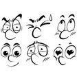 facial expression doodle in black outline vector image