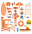 rescuer lifesaver worker man on beach and of life vector image