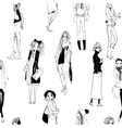 seamless pattern with sketched girls vector image