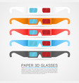 set paper 3d glasses vector image