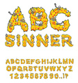 Sinner font Letters from flames Skeletons in hell vector image