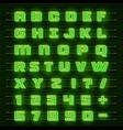 neon font city neon green font english city vector image