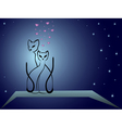 Enamoured cats against dark blue night sky vector image vector image