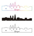 Bergen skyline linear style with rainbow vector image