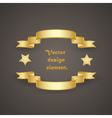 Frame of golden ribbons and stars vector image