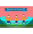 Three soccer players on football stadium vector image