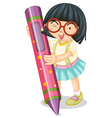 Girl holding large crayon vector image vector image
