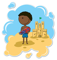 African-American boy and the sand castle vector image