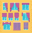 collection of various window treatments curtains vector image