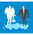 Deal with Angel Businessman and cherub make deal vector image