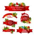 merry christmas wish greeting ribbon icons vector image
