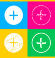 positive symbol plus sign four styles of icon on vector image