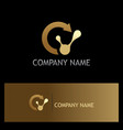 recycle technology gold logo vector image