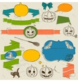 Set of vintage deign elements about Halloween vector image